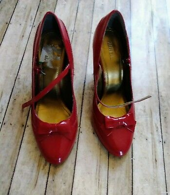 eb05b7af9f2 CHARLOTTE RUSSE PUMPS Size 8 Red Patent Leather Ankle Buckle Open ...