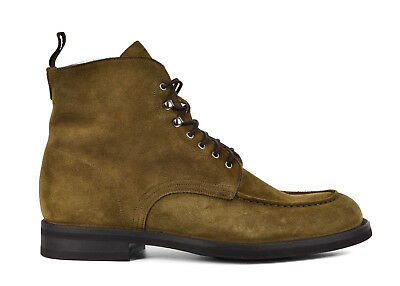 Sutor Mantellassi Men Brown Suede Lace Up Moccasin Combat Boots UK8 US 9 RTL$950