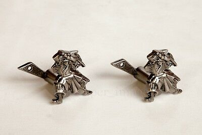 Sword Hanger Set (Pair) Silver Adjustable Samurai Collectable Wall Display