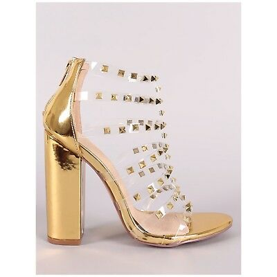 1799bcaa77f LILIANA ILYSE-78 GOLD Clear Transparent Strap Cage Block Heel Gold Stud  Detail