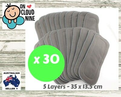 30X 5-Layer Inserts Reusable Bamboo Charcoal Liners for Baby Modern Cloth Nappy