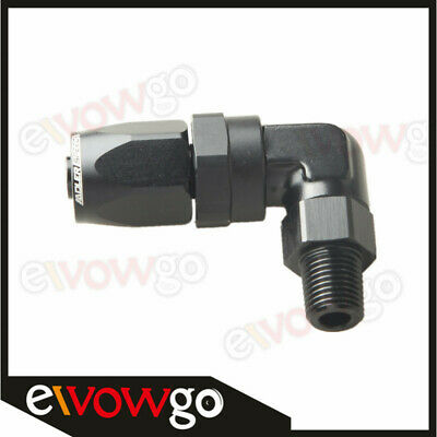 "-8 AN8 AN -8 to 1/4"" NPT 90 Degree Swivel Hose End Fitting Adaptor Black"