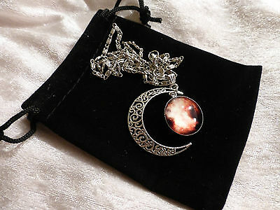 Striking Crescent with Glass Weather Moon Sweater Necklace on Silver Tone Chain