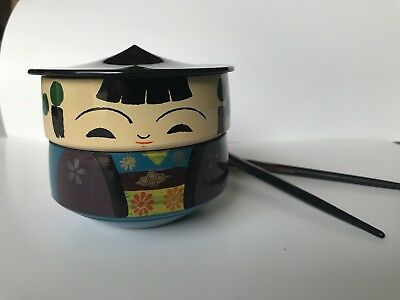 Vintage Bento Box Japan OMC Asian Lacquer Ware Kokeshi Doll Stack Rice Jewelry