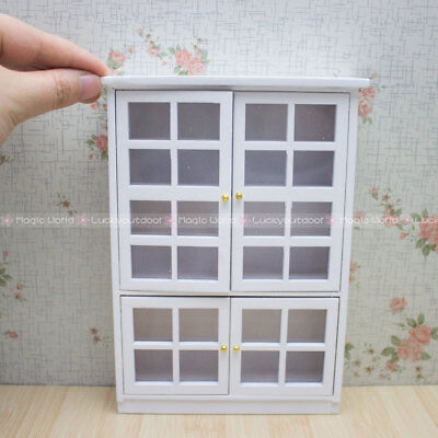 Wood Kitchen Furniture Cabinet Cupboard White 1/12 Dollhouse Miniatures