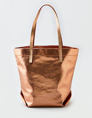 6bc005d535  35 AEO Metallic Canvas Tote - Rose Gold - American Eagle Authentic