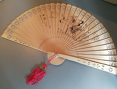 Vintage wooden japanese fan with red tassel bird Asian writing Chinese unique $