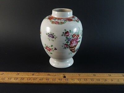 Antique Chinese Export Famille Rose Deutsche Blumen Teapoy Tea Caddy Vase LABEL