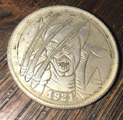 Morgan dollar 1921 hobo carved coin Superhero wolf claws