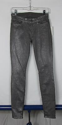 b390040c NWT 7 For All Mankind The Skinny Gray Silver Glitter Sparkle Jeans Women's  Sz 24