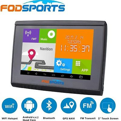 5'' Android GPS Motorcycle Car Bluetooth Navigation 4.4 WIFI 512M 8GB Flash+Maps