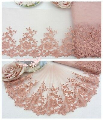 """8""""*1Y Embroidered Tulle Lace Trim~Petal Peach+Deep Rosy Gold~Royal Romance~"""