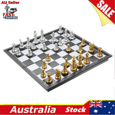 Silver Gold Magnetic Chess Board Hand Crafted Folding Foldable Craft Game Set AU