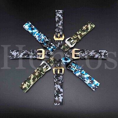 20 22 24 MM Camouflage Camo Rubber strap band fits for Panerai Submersible USA