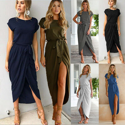 Womens Ladies Belted Split Maxi Summer Casual Beach Party Long Skirts Dress AU