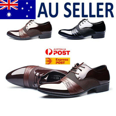 Men's Leather Formal Office Work Smart Shoes Casual Pointed Toe Wedding Shoes HY