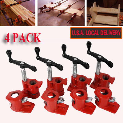 "3/4"" Wood Gluing Pipe Clamp Set Heavy Duty PRO Woodworking Cast Iron New FOUR US"