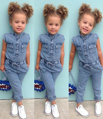 Denim Toddler Kids Baby Girls Shirt Romper Playsuit Pants Outfits Clothes Summer