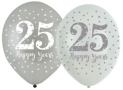 "6 x Silver Anniversary 11"" Latex Balloons Helium 25th Wedding Party Decoration"