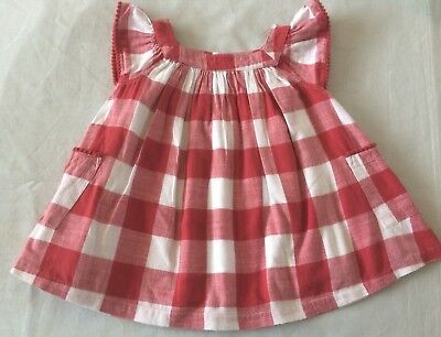 M&S red GINGHAM PINAFORE SMOCK TOP / FULLY LINED 9-12 baby girl clothes SUMMER