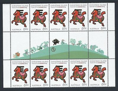 2014 Christmas Island Year Of The Horse Illustrated Gutter Strip Fine Mint Mnh
