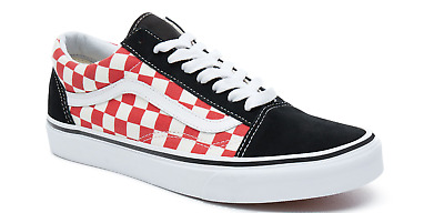 Vans Old Skool Red Checkerboard Trainers - Checker Classic Shoes - BNIB