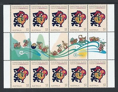2017 Christmas Island Year Of The Rooster Illustrated Gutter Strip Fine Mint Mnh