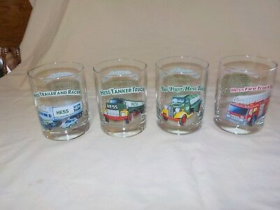 "HESS ""Classic Truck Series"" 1996 Four Tumblers/Glasses- 4 1/8"" High"