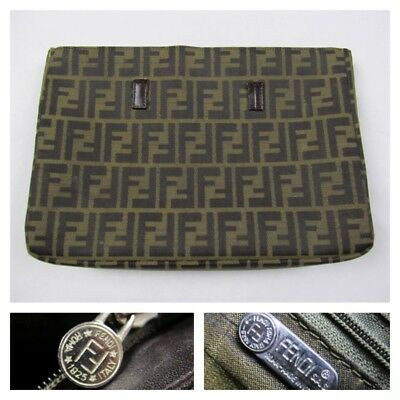 355f7c68291 FENDI Womens Monogram Clutch Make Up Cosmetic Bag Travel Toiletries Logo  Vintage