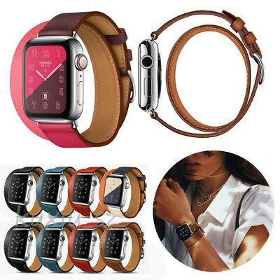 Leather Double Tour Bands Bracelet Strap For Apple Watch iWatch 38mm 42mm 44/40