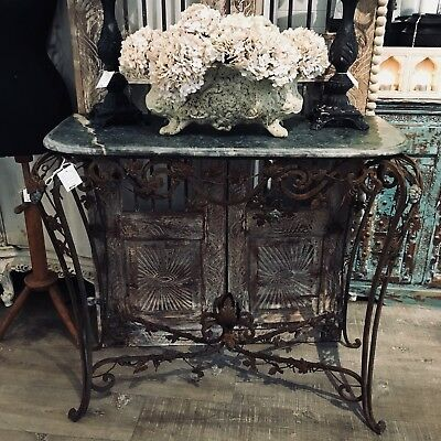 French Style Green Marble & Wrought Iron Vintage Console Table Indoors Or Out