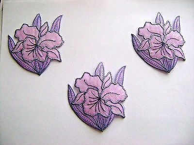 FLOWERS / 3 Pieces SPARKLE LILAC  IRIS EMBROIDERED IRON ON APPLIQUE / PATCH