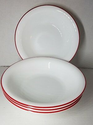 "1 CORELLE 18-oz Bright RED RIM SOUP BOWL 7 1/4"" Salad Cereal Stew"
