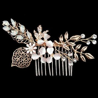 Bridal Wedding Hair Accessories Bridesmaid Clip in Pin Comb Gold Hair jewellery