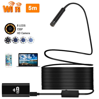 Epress Wireless WiFi Endoscope, 8mm Borescope Semi-rigid Inspection Camera 2.0 M