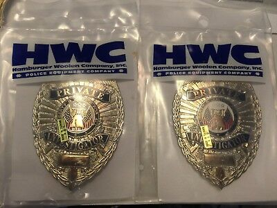 Lot of 2 HWC Private Investigator Nickel Breast Badge New in pachage