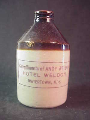 Hotel Weldon - Watertown New York - Miniature Whiskey Jug