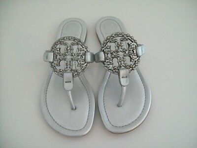 edafeb16aef4 Tory Burch Miller Embellished Crystal Stud Sandals Silver Lth Sz 8 New FREE  SHIP
