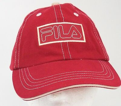 FILA RED   White Adjustable Embroided Baseball Style Hat Cap ... a19add55bbbe