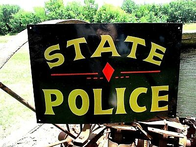 Vintage STATE POLICE STATION Department SIGN Law Enforcement Sheriff Detective