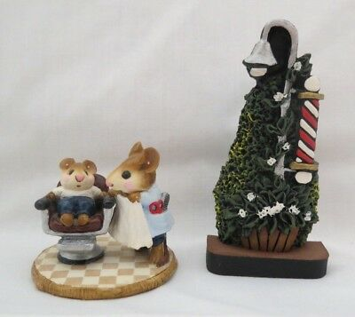 Wee Forest Folk 1986 First Haircut In WFF Box w/Barber Pole Prop