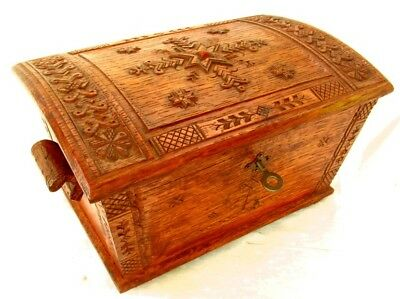 CARVED OAK DOME TOP BOX *RUSSIAN with INSET AMBER* ORIG. KEY c.1920'S