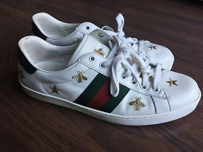 cdbdef4c1 GUCCI $730 WHITE Leather Bees And Stars Embroidered Ace Sneaker ...