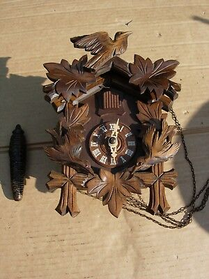 Cuckoo clock black forest german wood carving herbert herr FREE POSTAGE VINTAGE