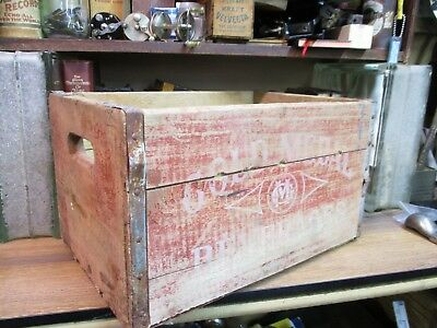 GOLD METAL VINTAGE wooden BEVERAGES soda CRATE pop wood carrier 1964 ORIGINAL