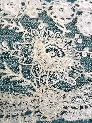 Antique Brussels Mixed Lace Scarf Collar Tie Needle Lace Embroidered Net Lace
