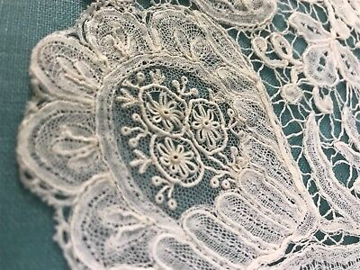 Antique Lace Brussels Duchesse Handmade Creamy White Scalloped Edge