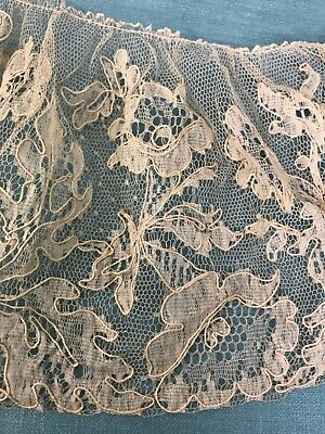 Antique French Chantilly Lace Flounce Ecru Scalloped edge and Gathered edge
