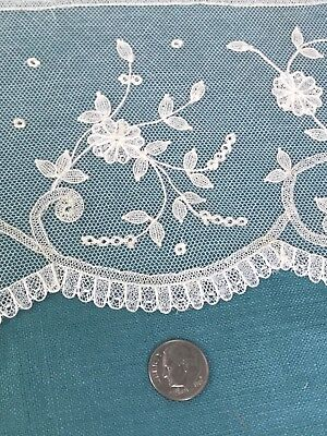 """Antique Brussels Net Lace Hand Embroidered  Unused  4.5"""" x 60"""""""