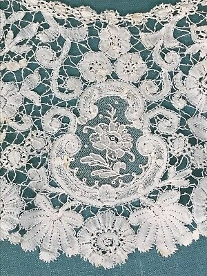 Antique Brussels Mixed Lace Flounce Bertha Collar Needle and Bobbin Lace